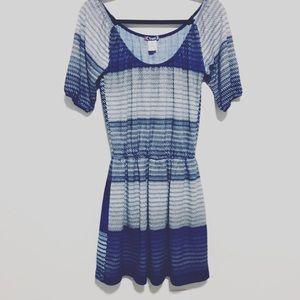 Trixxi Knitted Blue and Grey Geometric Dress sz Sm